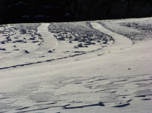 Frozen driveway and windblown snow in Woodstock  Photo by Mike Hartley