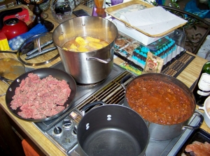 Chili and gumbo pot starting