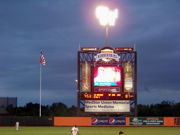 Scoreboard at night Photo by Mike Hartley