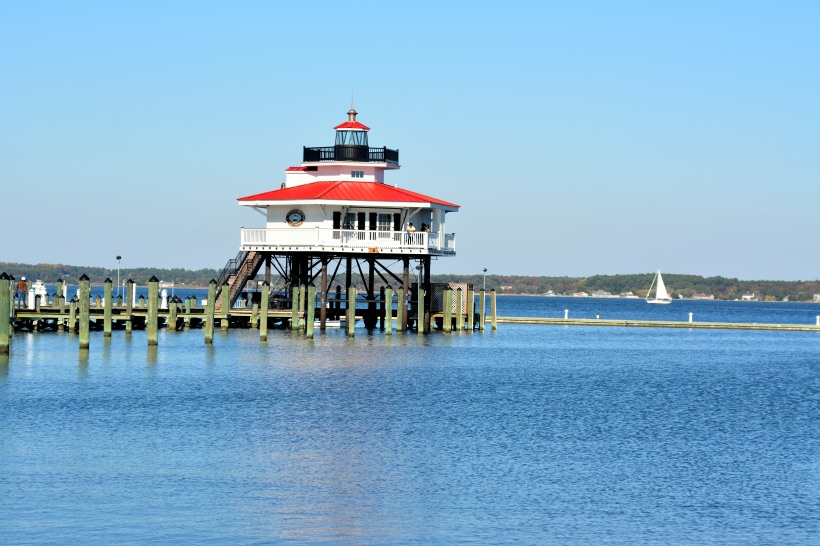 Choptank Lighthouse and a beautiful blue sky/water. Photo by Mike Hartley