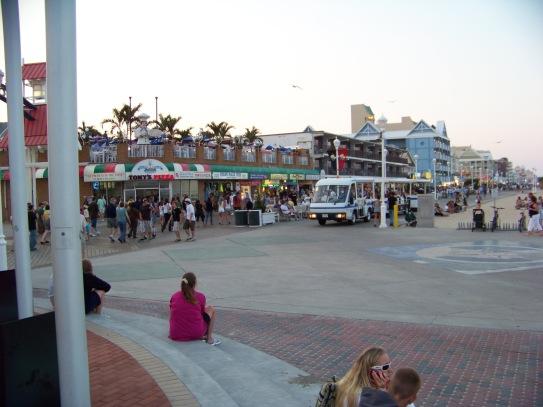 Tram on boardwalk