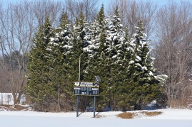 Field hockey fields, trees with snow. Photo by Mike Hartley