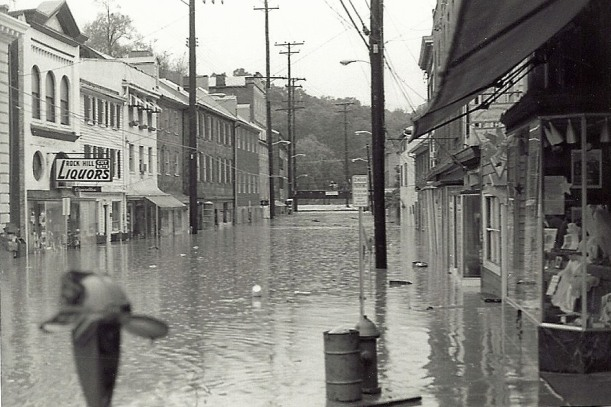 Flooded Main Street Ellicott City from Agnes. Photo by Mike Hartley