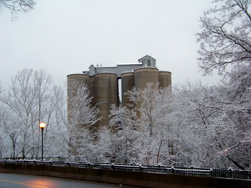 Mill and bridge after snow.  Photo by Mike Hartley