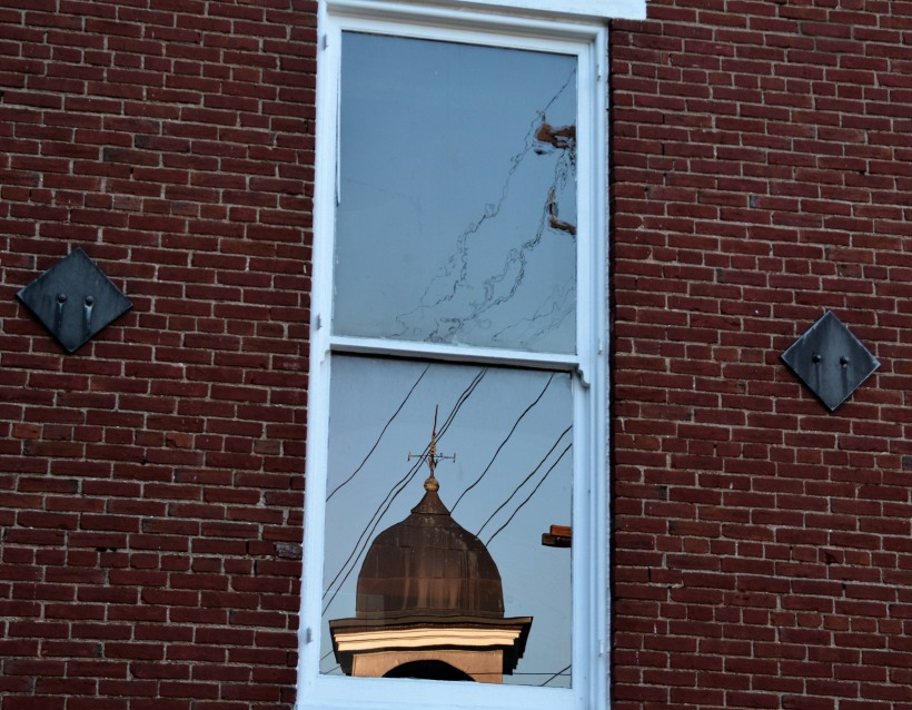 Reflection of Old Firehouse top.  Photo by Mike Hartley